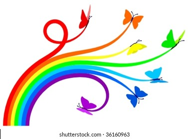 Seven butterflies creating a rainbow. Vector illustration, everything can be very easily separated or recolored.
