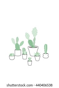 Seven cactuses in pots, vector illustration.