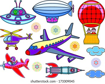 Seven cartoon flying vehicles