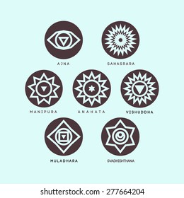Seven chakras on the mint and coffee.It can be used to design logos as posters and tattoos. For ayurvedic clinics and yoga studios.