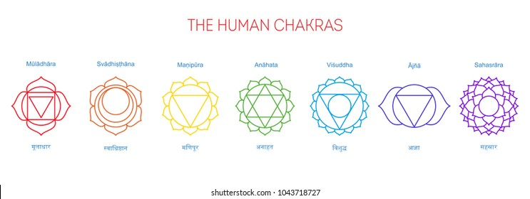 Seven chakras, their English and Sanskrit name. Poster, illustration, yoga, Buddhism, Hinduism. Spiritual practice