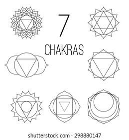 The seven chakras vector set style black on the white background. Linear character illustration of Hinduism and Buddhism. For design, associated with yoga and India.