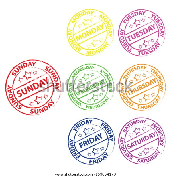 Seven Colorful Calendar Stamps Days Week Stock Image