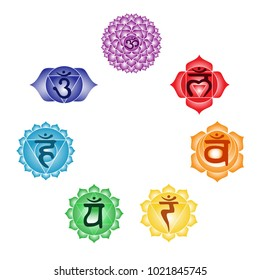 seven colorful chakras anahata ajna sahasrara muladhara swadhisthana manipura vishuddha symbol indian buddhism yoga hinduism vector.