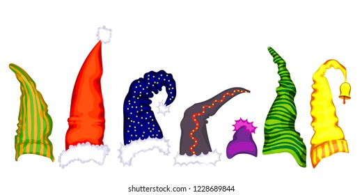 Seven colorful dwarf hats. Leprechaun hat. hand drawing. vector set