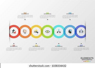 Seven colorful intersected round elements with thin line icons inside arranged into horizontal row, text boxes. Concept of 7 steps of strategic plan. Infographic design template. Vector illustration.