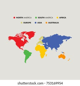 Seven continents map with national borders. Asia, Africa, North and South America, Antarctica, Europe and Australia. Detailed map under Robinson projection and English labeling on white background.
