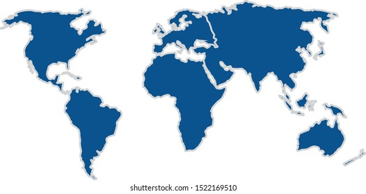Seven continents of the world earth globe map