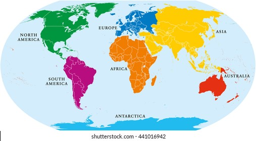 Location Of Asia In World Map.7 Continents Images Stock Photos Vectors Shutterstock