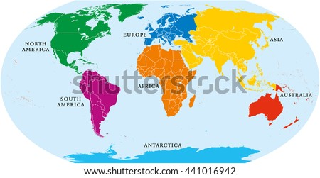 Seven Continents World Map Asia Africa Stock Vector Royalty Free