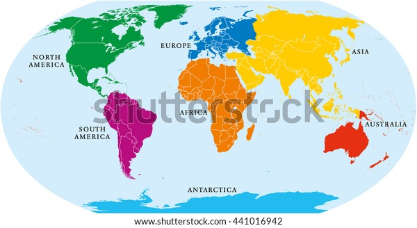 Map Of Africa Asia And Europe.Seven Continents World Map Asia Africa Stock Vector Royalty Free