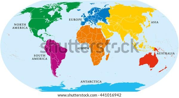 Syv Kontinenter Verdenskort Asien Afrika Nord Lagervektor