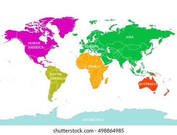 Seven Continents World Map. North America, South America, Europe, Africa,  Asia