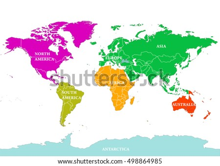 Seven Continents World Map North America Stock Vector Royalty Free
