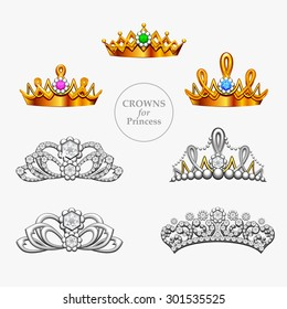 Seven crowns for a princess. Fantasy collection of golden and silver crowns and diadems