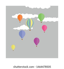 Seven cute, colourful hot air balloons floating through a dreary grey sky with fluffy white clouds.  Kitsch, retro feel hand drawn art.  Dreamy themed illustration.  Balloons floating up in the air.
