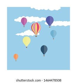 Seven cute, colourful hot air balloons floating through a happy blue sky with fluffy white clouds.  Kitsch, retro feel hand drawn art.  Dreamy themed illustration.  Balloons floating up in the air.