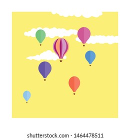 Seven cute, colourful hot air balloons floating through a yellow sky with fluffy white clouds.  Kitsch, retro feel hand drawn art.  Dreamy themed illustration.  Balloons floating up in the air.