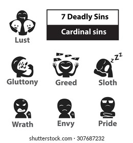 Seven deadly sins, cardinal sins signs and symbol icon in black and white color.