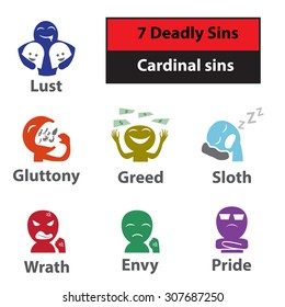 Seven deadly sins, cardinal sins signs and symbol in colorful style.
