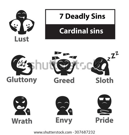 Seven Deadly Sins Cardinal Sins Signs Stock Vector Royalty Free
