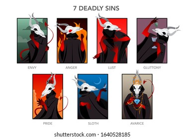 Seven deadly sins set. Christian bible character. Anger, envy, lust and glottony. Pride, sloth and avarice. Vector illustration.