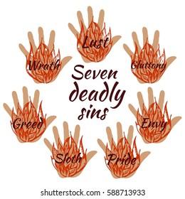 Seven deadly sins. Vector illustration