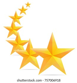 Seven golden christmas star icon background. vector illustration