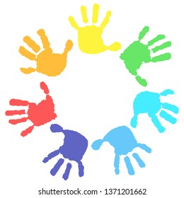Seven hand print in rainbow colors. Round frame on a white background. Children's hands, circle, kid handprint, baby palms, watercolor.