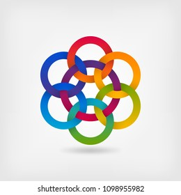 seven interlocked circles in gradient rainbow colors. vector illustration - eps 10