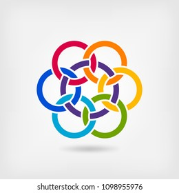seven interlocked circles in rainbow colors. vector illustration - eps 10