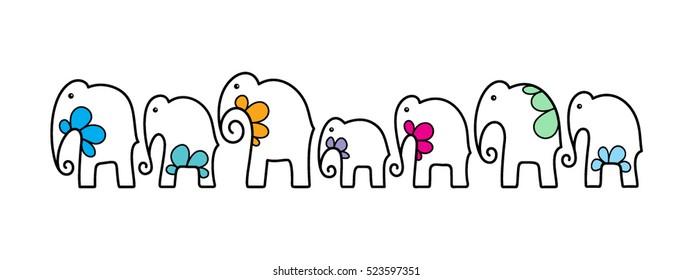 Seven Lucky Elephants Pattern