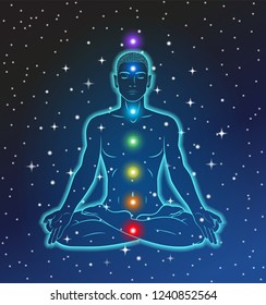 Seven major chakras. A person sitting in a meditative yoga position. Silhouette glowing in space. Cosmos, stars.