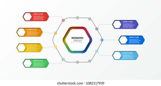 seven options design layout infographic template with hexagonal elements. business process diagram for brochure, banner, annual report and presentation