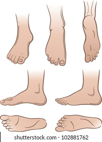 Seven outlined colored man feet isolated on white background