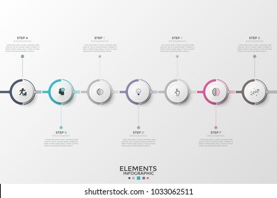 Seven paper white elements with linear icons inside connected into horizontal chain. Concept of 7 steps of progressive development. Modern infographic design template. Vector illustration for brochure