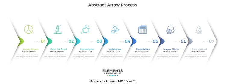 Seven paper white overlapping arrows placed in horizontal row. Concept of 7 successive steps of progressive business development. Simple infographic design template. Abstract vector illustration.