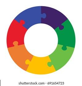 Seven Part Puzzle Graphic