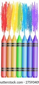 seven pencils draw rainbow, crayons, scratch, vector.