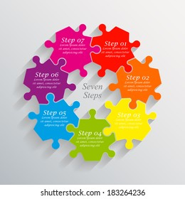 Seven piece flat puzzle infographic presentation. 7 step circle business diagram. Seven section compare service banner. Vector illustration template shape . 3d Abstract Background
