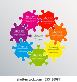 Seven piece flat puzzle round infographic presentation. 7 step circle business diagram. Seven section compare service banner. Vector illustration template shape . 3d Abstract Background
