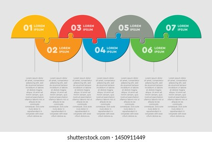 Seven pieces puzzle half circles diagram. Circles business presentation infographic. 7 steps, parts, pieces of process diagram. Section compare banner. Jigsaw puzzle info graphic. Marketing strategy.