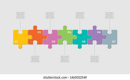 Seven pieces puzzle squares diagram. Squares business presentation infographic. 7 steps, parts, pieces of process diagram. Section compare banner. Jigsaw puzzle info graphic. Marketing strategy.