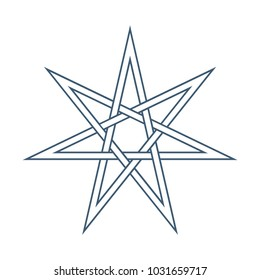 Seven point star or septagram, known as heptagram. Elven or Fairy Star, magical or wiccan witchcraft heptagram symbol. Heptagon mystic sign.