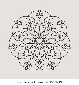 Seven pointed circular pattern. Mandala. Round linear vector ornament on light background.
