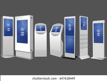 Seven Promotional Interactive Information Kiosk, Advertising Display, Terminal Stand, Touch Screen Display. Mock Up Template.