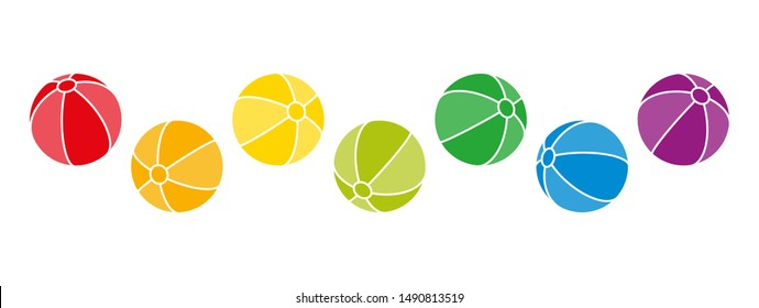 Seven rainbow colored balls jumping around. Beach ball shaped spheres in the colors of a spectrum with stripes and outlines. Isolated illustration on white background. Vector.