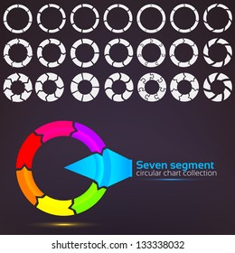 Seven segment graph circular charts clip art set, in seven template design variations and three variations of thickness