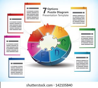 Seven sided presentation template with text box for brochures, banners, ads and business statistics of infographics