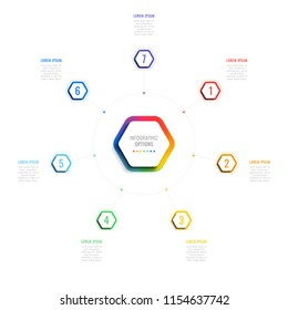 seven steps 3d infographic template with hexagonal elements. business process template with options for brochure, diagram, workflow, timeline, web design